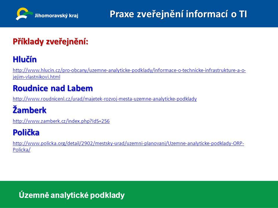 Územně analytické podklady Příklady zveřejnění: Hlučín http://www.hlucin.cz/pro-obcany/uzemne-analyticke-podklady/informace-o-technicke-infrastrukture