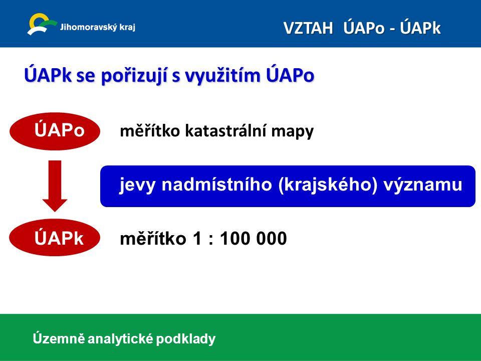 ÚAPk se pořizují s využitím ÚAPo ÚAPo měřítko katastrální mapy jevy nadmístního (krajského) významu ÚAPk měřítko 1 : 100 000 Územně analytické podklad