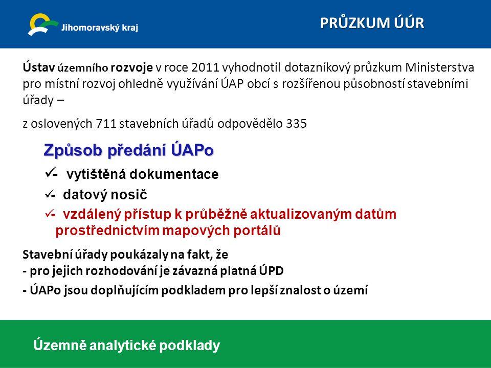 Ústav územního rozvoje v roce 2011 vyhodnotil dotazníkový průzkum Ministerstva pro místní rozvoj ohledně využívání ÚAP obcí s rozšířenou působností st