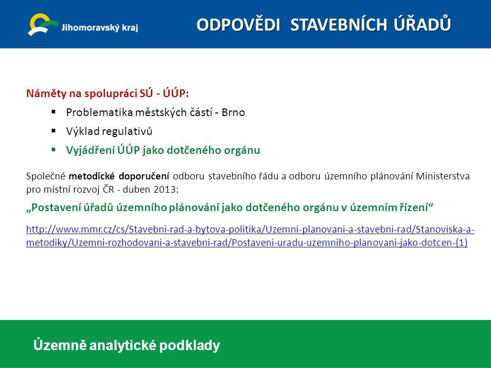 Územně analytické podklady Náměty na spolupráci SÚ - ÚÚP:  Problematika městských částí - Brno  Výklad regulativů  Vyjádření ÚÚP jako dotčeného org