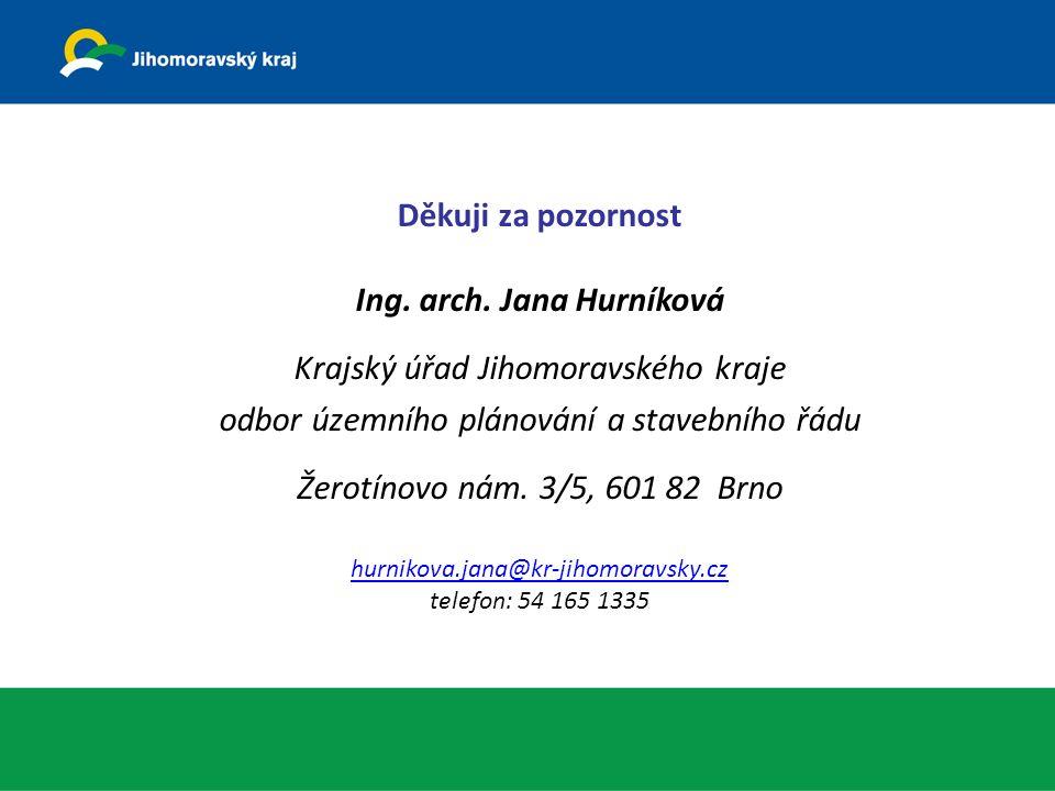 Děkuji za pozornost Ing. arch. Jana Hurníková Krajský úřad Jihomoravského kraje odbor územního plánování a stavebního řádu Žerotínovo nám. 3/5, 601 82