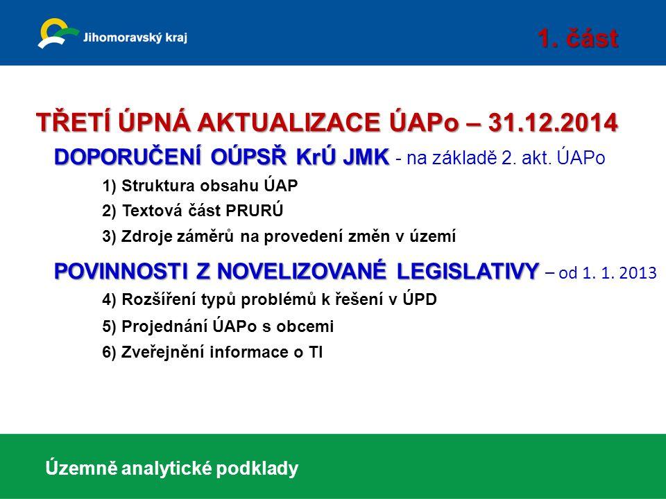 Územně analytické podklady Jihomoravského kraje 2013 druhá úplná aktualizace ÚAP JMK 2013 byly projednány v Zastupitelstvu Jihomoravského kraje 20.