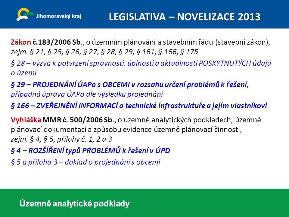 Územně analytické podklady Novela vyhlášky č.500/2006 Sb.