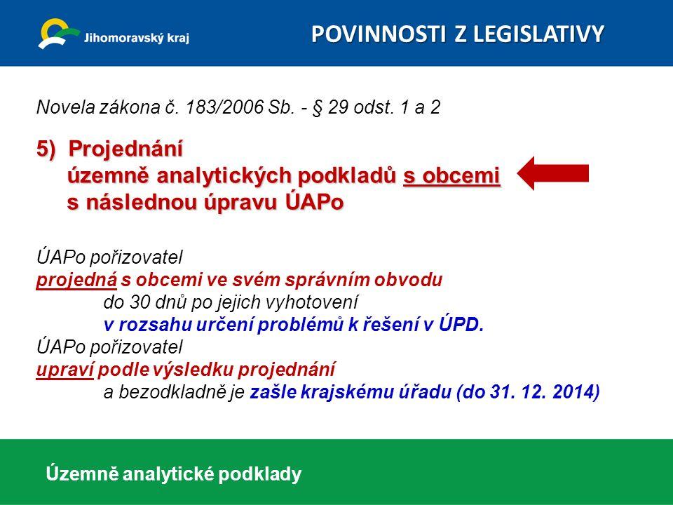 5) Projednání územně analytických podkladů s obcemi s následnou úpravu ÚAPo Novela zákona č. 183/2006 Sb. - § 29 odst. 1 a 2 5) Projednání územně anal