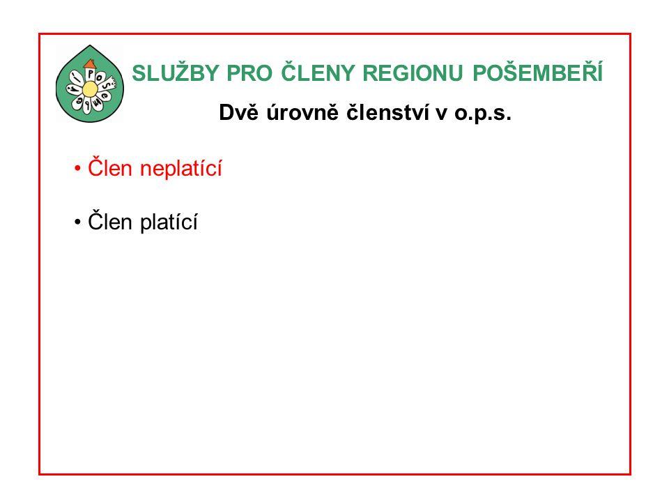 SLUŽBY PRO ČLENY REGIONU POŠEMBEŘÍ Čtyři oblasti služeb A.