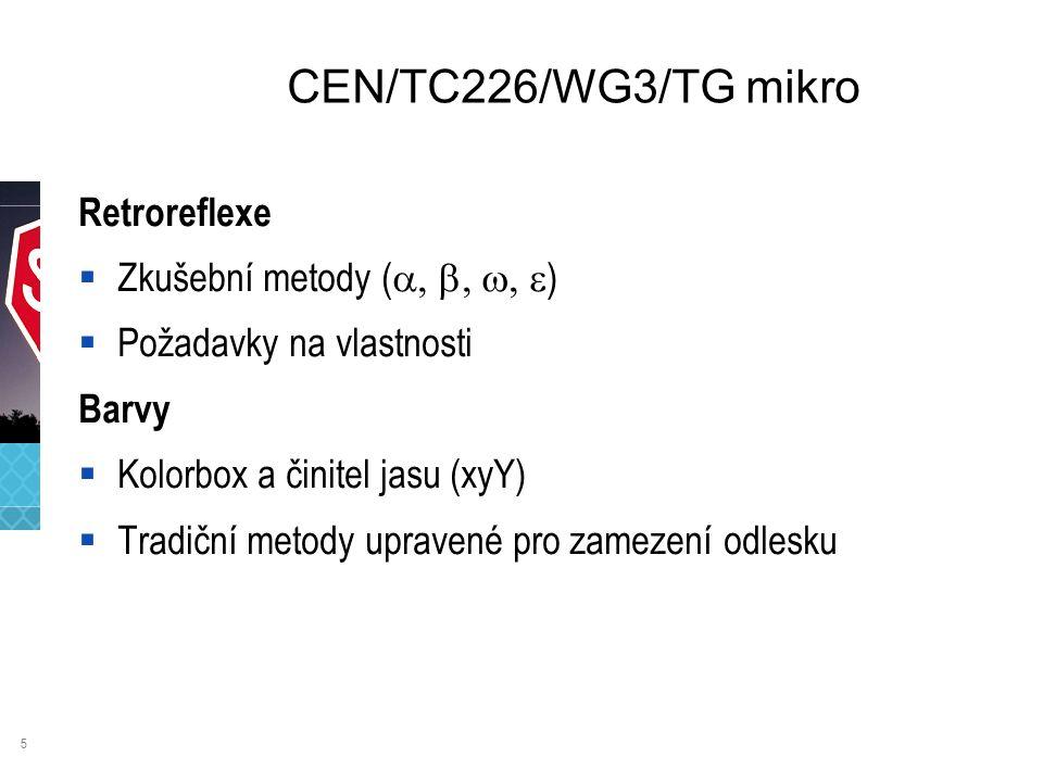 5 CEN/TC226/WG3/TG mikro Retroreflexe  Zkušební metody (  )  Požadavky na vlastnosti Barvy  Kolorbox a činitel jasu (xyY)  Tradiční metody upravené pro zamezení odlesku