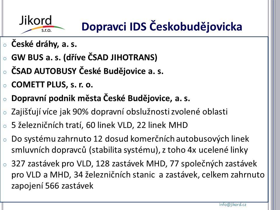 Dopravci IDS Českobudějovicka o České dráhy, a. s.