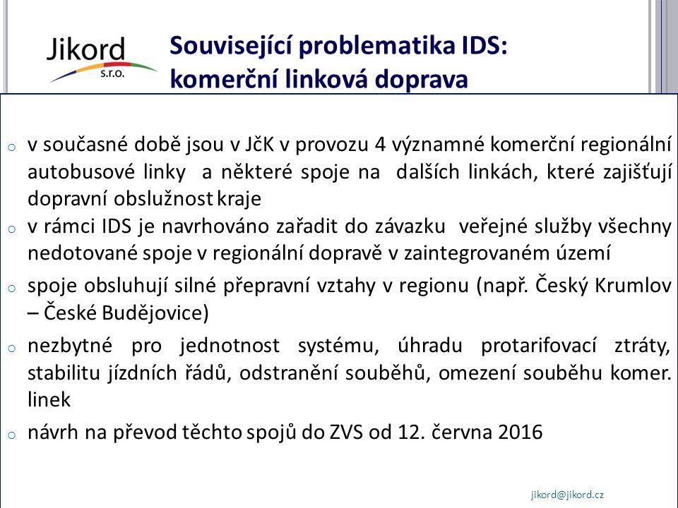 Související problematika IDS: komerční linková doprava o v současné době jsou v JčK v provozu 4 významné komerční regionální autobusové linky a některé spoje na dalších linkách, které zajišťují dopravní obslužnost kraje o v rámci IDS je navrhováno zařadit do závazku veřejné služby všechny nedotované spoje v regionální dopravě v zaintegrovaném území o spoje obsluhují silné přepravní vztahy v regionu (např.