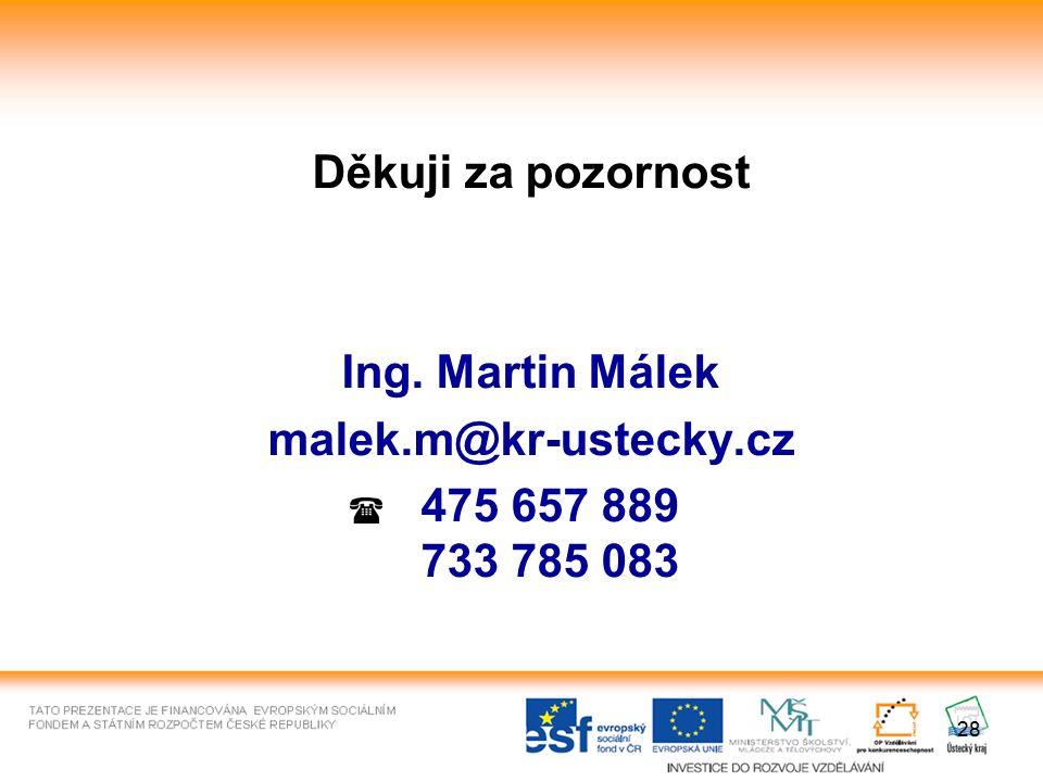 28 Děkuji za pozornost Ing. Martin Málek malek.m@kr-ustecky.cz 475 657 889 733 785 083