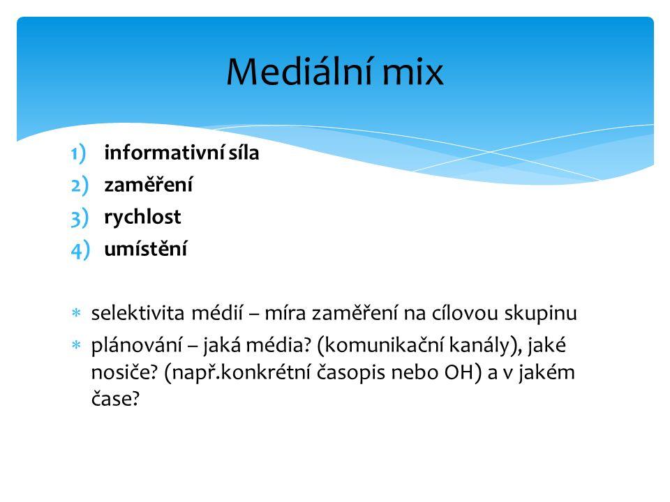 1)informativní síla 2)zaměření 3)rychlost 4)umístění  selektivita médií – míra zaměření na cílovou skupinu  plánování – jaká média? (komunikační kan