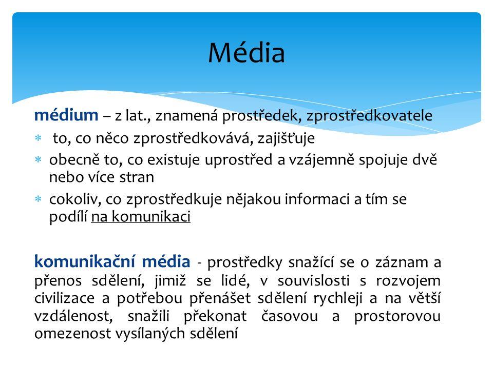 médium – z lat., znamená prostředek, zprostředkovatele  to, co něco zprostředkovává, zajišťuje  obecně to, co existuje uprostřed a vzájemně spojuje