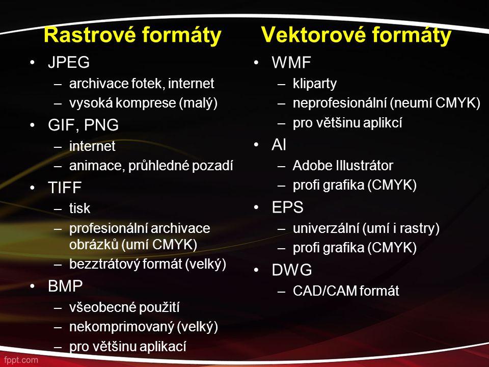 Rastrové formáty JPEG –archivace fotek, internet –vysoká komprese (malý) GIF, PNG –internet –animace, průhledné pozadí TIFF –tisk –profesionální archivace obrázků (umí CMYK) –bezztrátový formát (velký) BMP –všeobecné použití –nekomprimovaný (velký) –pro většinu aplikací Vektorové formáty WMF –kliparty –neprofesionální (neumí CMYK) –pro většinu aplikcí AI –Adobe Illustrátor –profi grafika (CMYK) EPS –univerzální (umí i rastry) –profi grafika (CMYK) DWG –CAD/CAM formát
