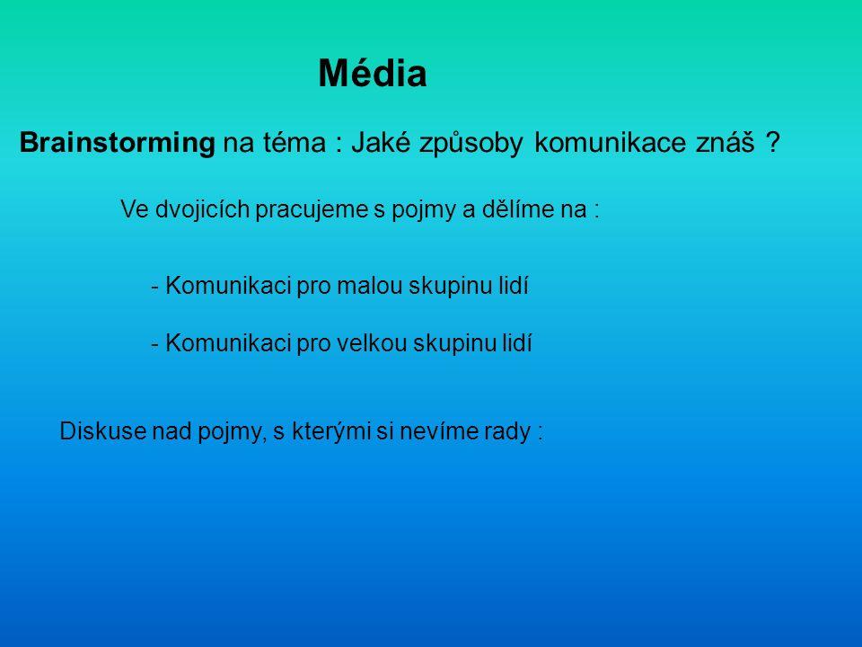 Média Brainstorming na téma : Jaké způsoby komunikace znáš .