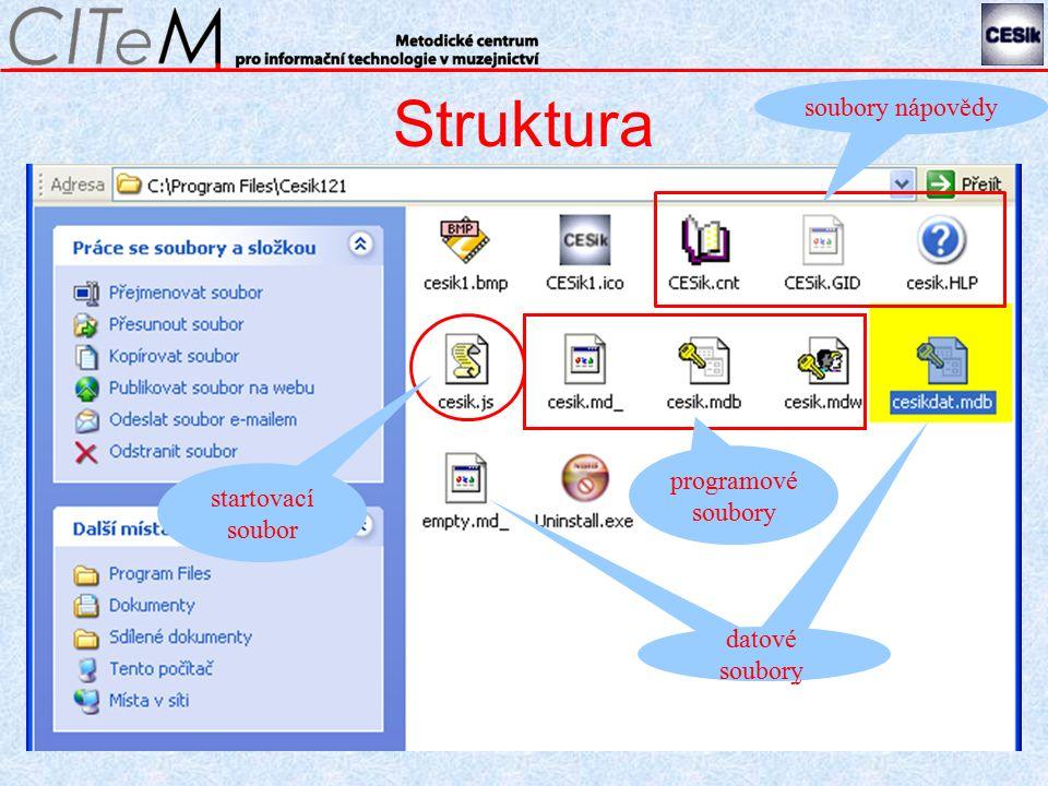 Struktura soubory nápovědy datové soubory programové soubory startovací soubor