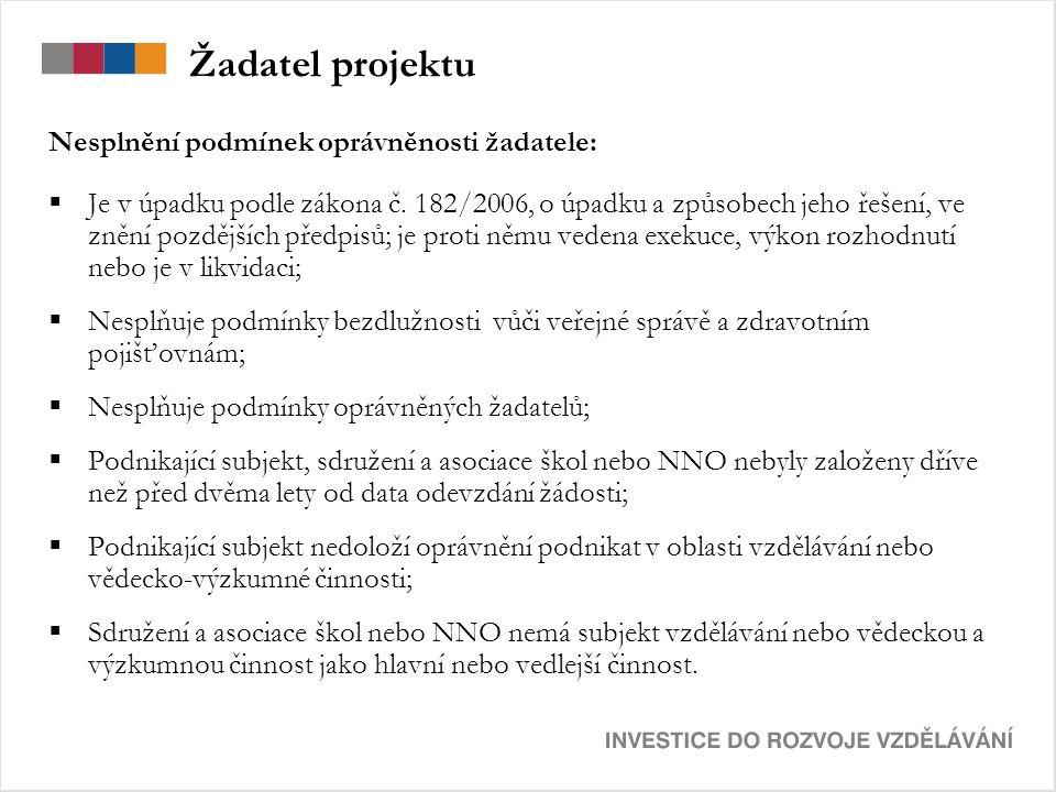 Žadatel projektu Nesplnění podmínek oprávněnosti žadatele:  Je v úpadku podle zákona č.