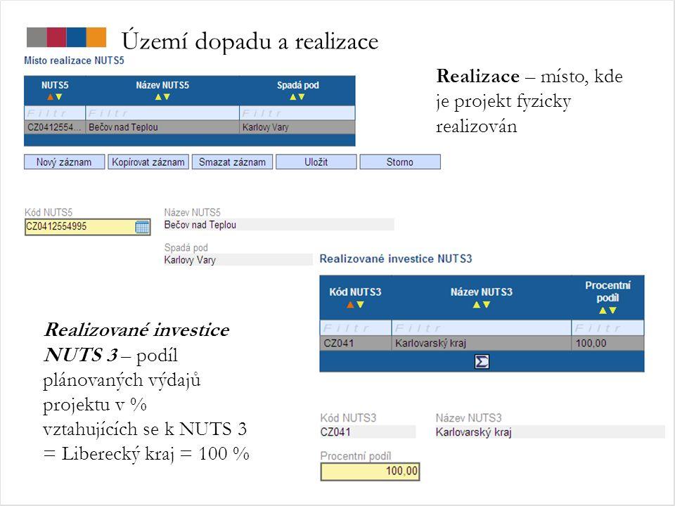 Území dopadu a realizace Realizované investice NUTS 3 – podíl plánovaných výdajů projektu v % vztahujících se k NUTS 3 = Liberecký kraj = 100 % Realizace – místo, kde je projekt fyzicky realizován