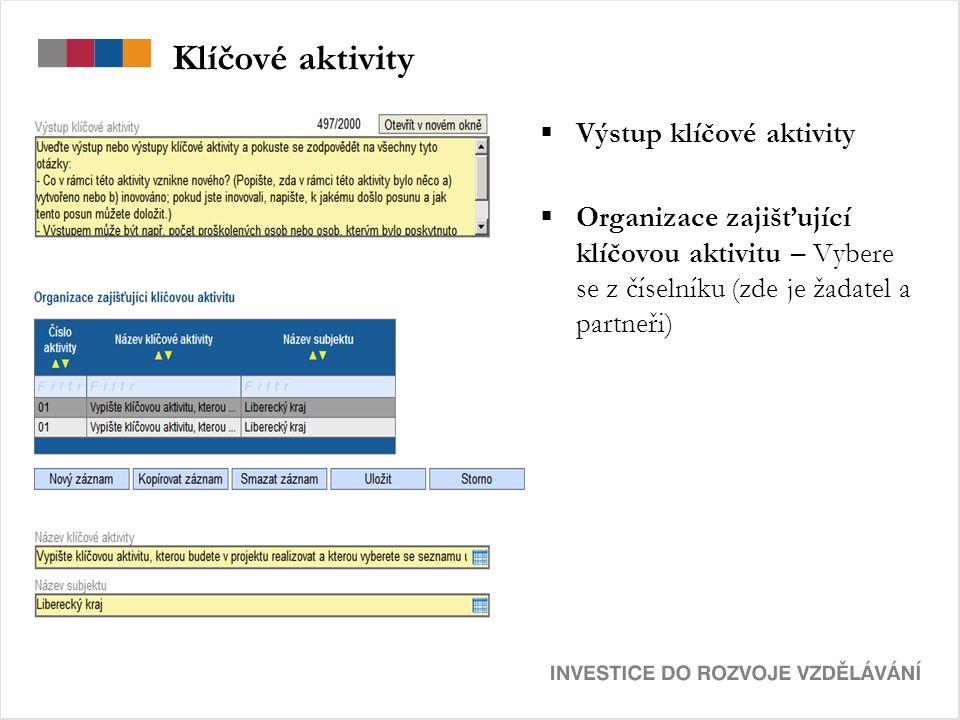 Klíčové aktivity  Výstup klíčové aktivity  Organizace zajišťující klíčovou aktivitu – Vybere se z číselníku (zde je žadatel a partneři)