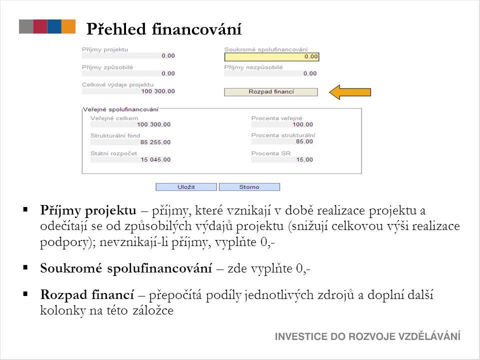 Přehled financování  Příjmy projektu – příjmy, které vznikají v době realizace projektu a odečítají se od způsobilých výdajů projektu (snižují celkovou výši realizace podpory); nevznikají-li příjmy, vyplňte 0,-  Soukromé spolufinancování – zde vyplňte 0,-  Rozpad financí – přepočítá podíly jednotlivých zdrojů a doplní další kolonky na této záložce