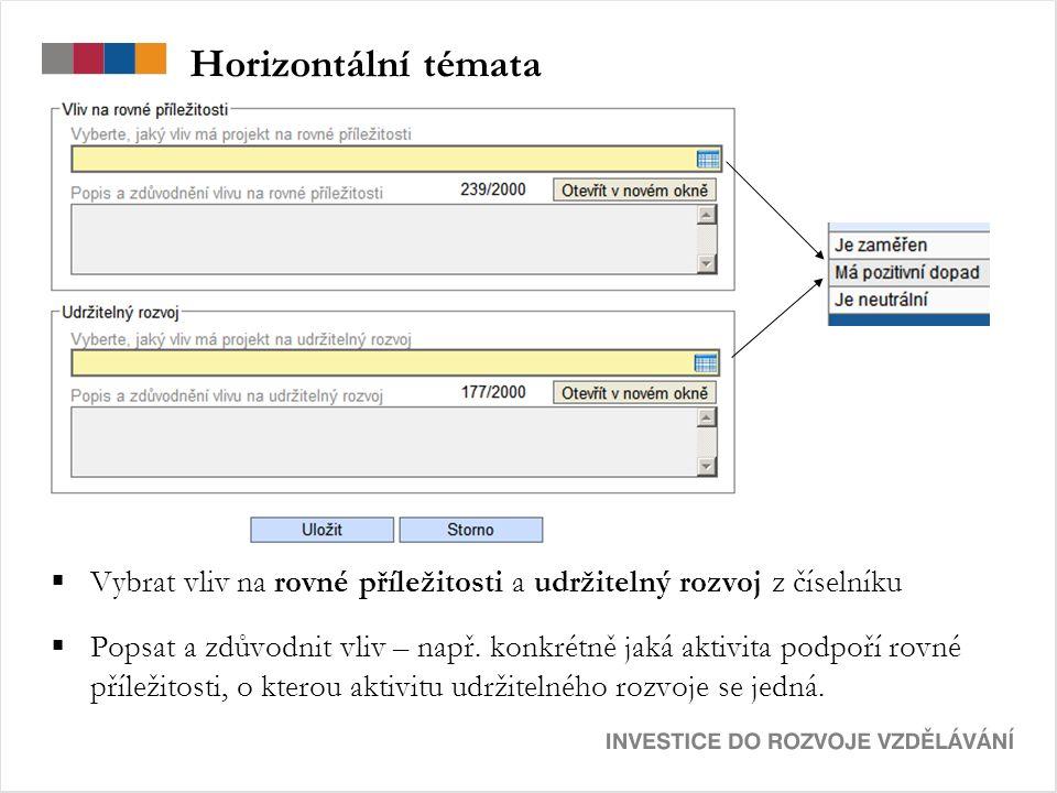 Horizontální témata  Vybrat vliv na rovné příležitosti a udržitelný rozvoj z číselníku  Popsat a zdůvodnit vliv – např.