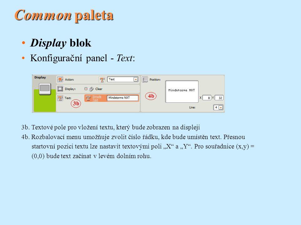 Common paleta Display blok Konfigurační panel - Text: 3b. Textové pole pro vložení textu, který bude zobrazen na displeji 4b. Rozbalovací menu umožňuj