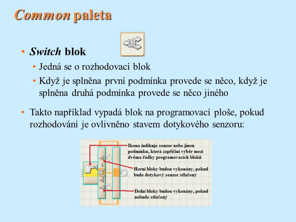 Common paleta Switch blok Jedná se o rozhodovací blok Když je splněna první podmínka provede se něco, když je splněna druhá podmínka provede se něco j