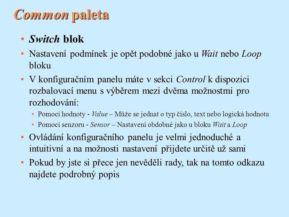 Common paleta Switch blok Nastavení podmínek je opět podobné jako u Wait nebo Loop bloku V konfiguračním panelu máte v sekci Control k dispozici rozba