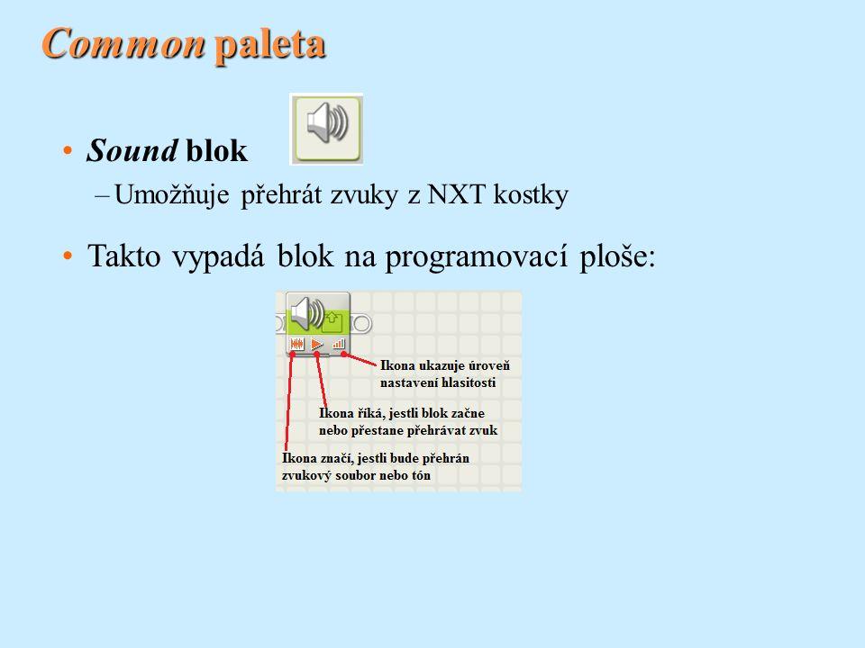 Common paleta Sound blok –Umožňuje přehrát zvuky z NXT kostky Takto vypadá blok na programovací ploše: