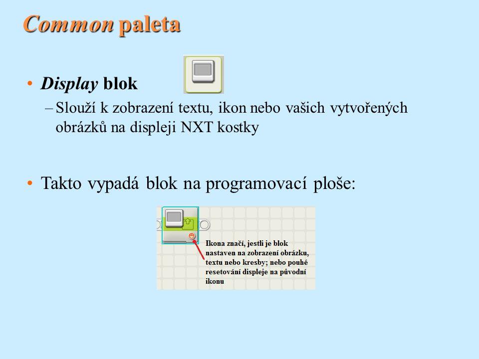 Common paleta Display blok –Slouží k zobrazení textu, ikon nebo vašich vytvořených obrázků na displeji NXT kostky Takto vypadá blok na programovací ploše: