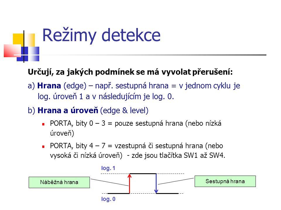 Režimy detekce Určují, za jakých podmínek se má vyvolat přerušení: a) Hrana (edge) – např. sestupná hrana = v jednom cyklu je log. úroveň 1 a v násled