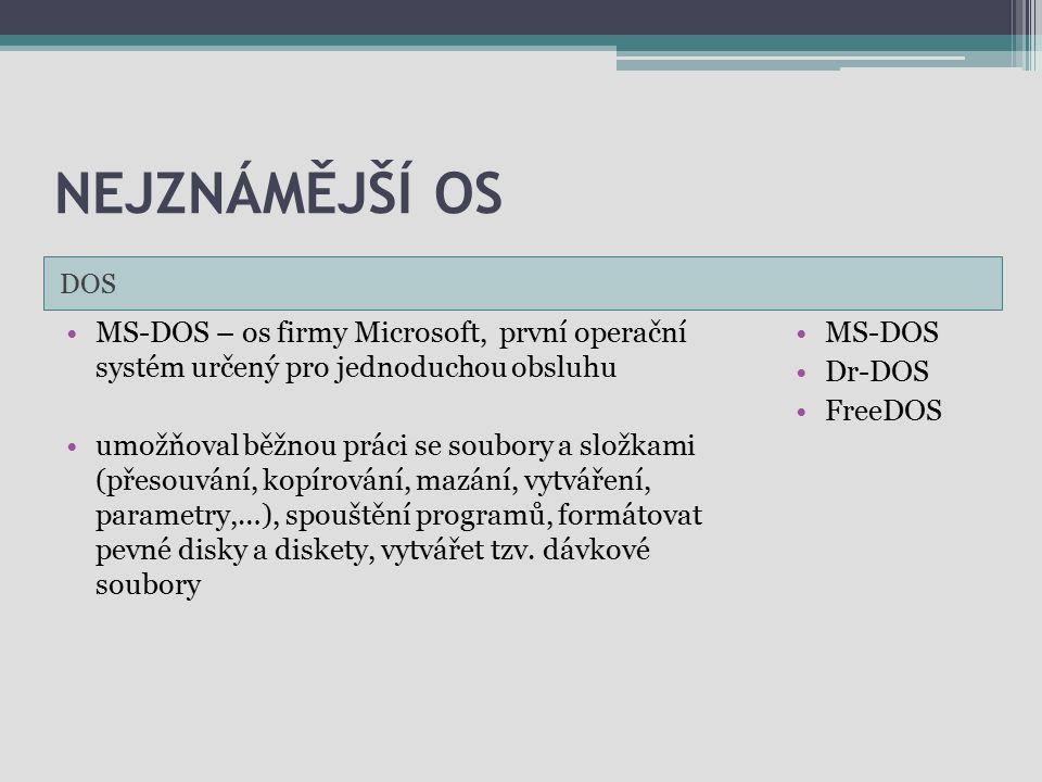 NEJZNÁMĚJŠÍ OS DOS MS-DOS – os firmy Microsoft, první operační systém určený pro jednoduchou obsluhu umožňoval běžnou práci se soubory a složkami (pře