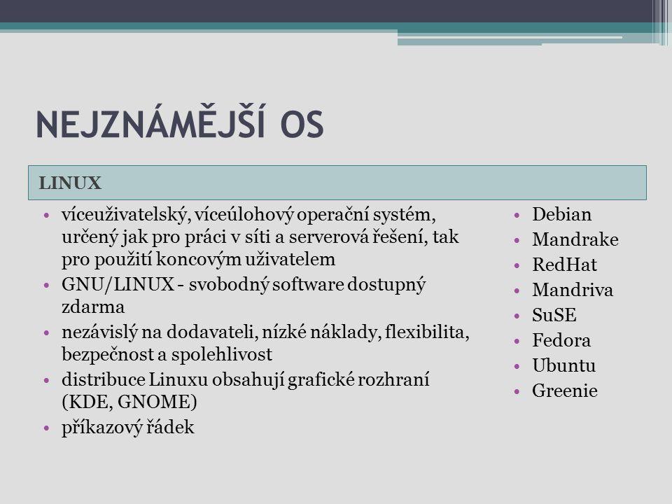 NEJZNÁMĚJŠÍ OS LINUX víceuživatelský, víceúlohový operační systém, určený jak pro práci v síti a serverová řešení, tak pro použití koncovým uživatelem