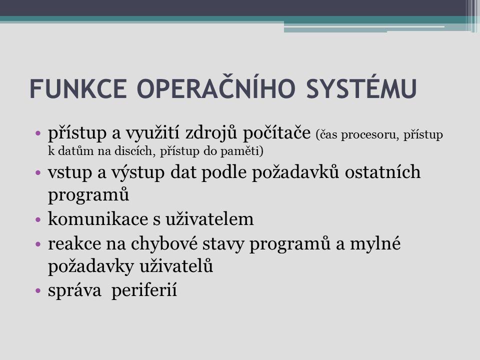 FUNKCE OPERAČNÍHO SYSTÉMU přístup a využití zdrojů počítače (čas procesoru, přístup k datům na discích, přístup do paměti) vstup a výstup dat podle po