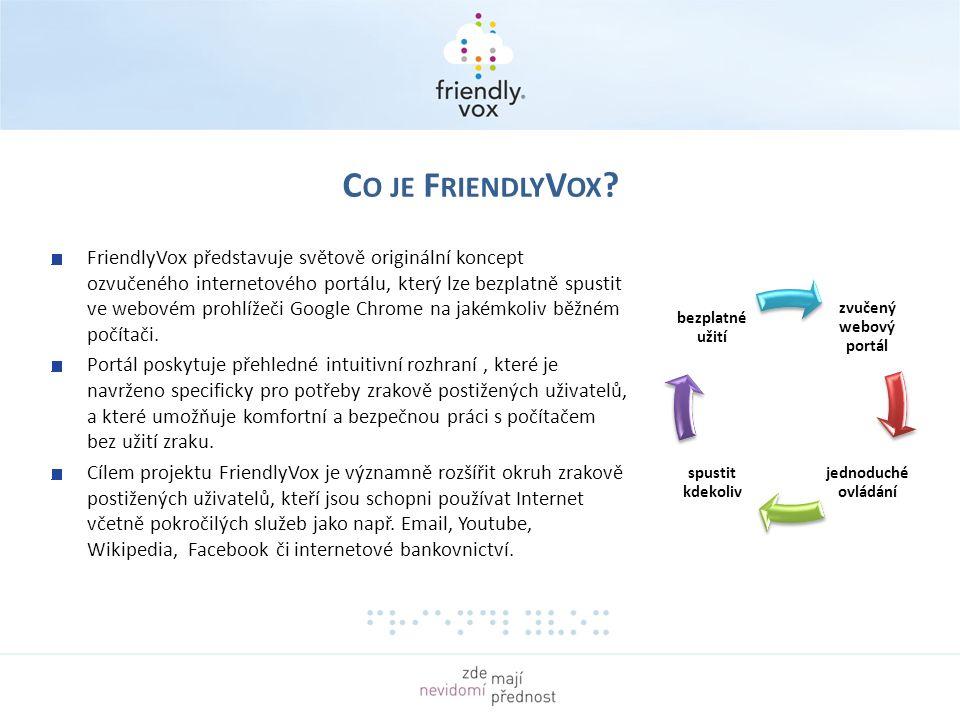 zvučený webový portál jednoduché ovládání spustit kdekoliv bezplatné užití FriendlyVox představuje světově originální koncept ozvučeného internetového portálu, který lze bezplatně spustit ve webovém prohlížeči Google Chrome na jakémkoliv běžném počítači.