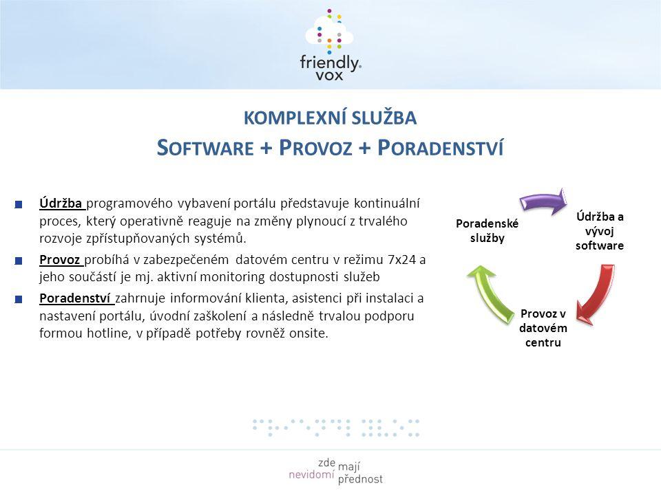 KOMPLEXNÍ SLUŽBA S OFTWARE + P ROVOZ + P ORADENSTVÍ Údržba a vývoj software Provoz v datovém centru Poradenské služby Údržba programového vybavení portálu představuje kontinuální proces, který operativně reaguje na změny plynoucí z trvalého rozvoje zpřístupňovaných systémů.