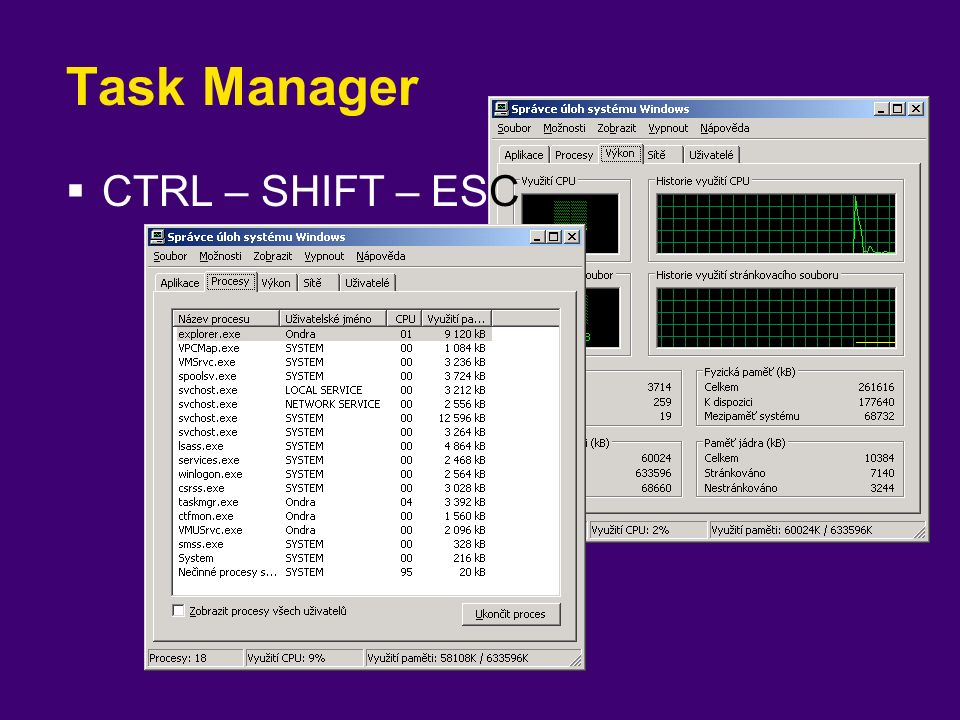 Task Manager  CTRL – SHIFT – ESC