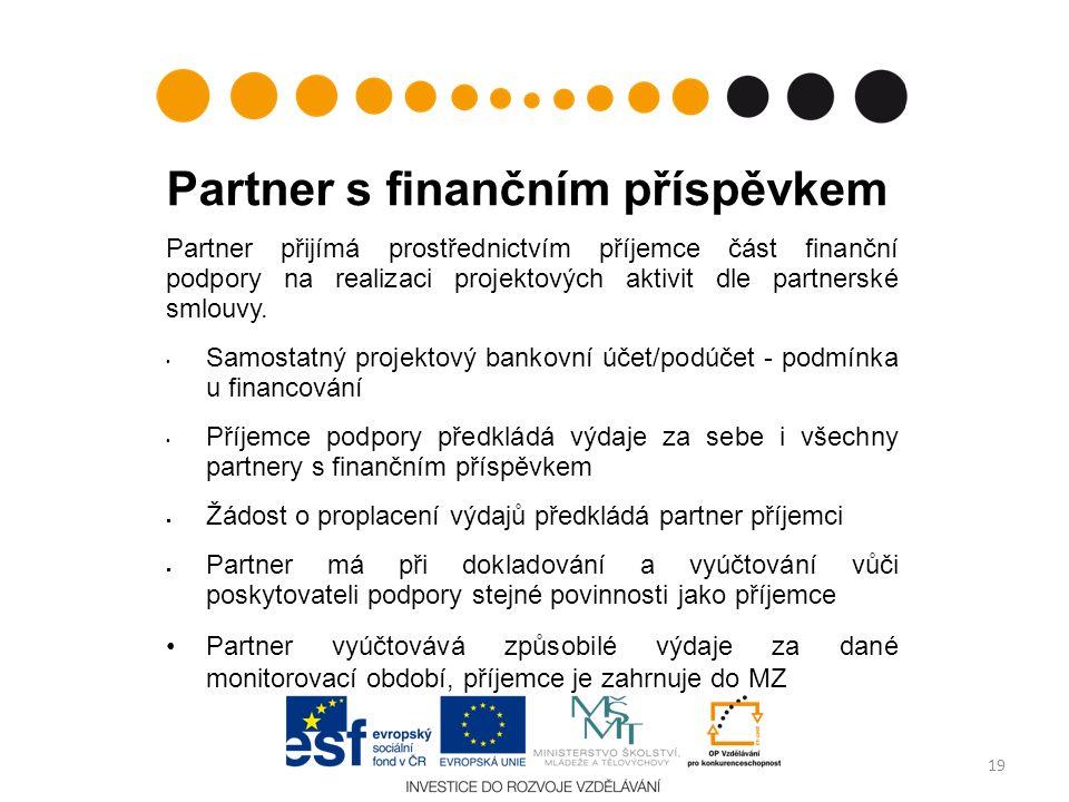 Partner s finančním příspěvkem Partner přijímá prostřednictvím příjemce část finanční podpory na realizaci projektových aktivit dle partnerské smlouvy.