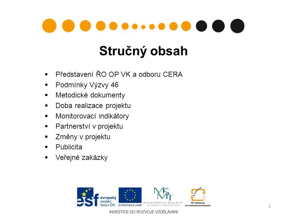 Stručný obsah  Představení ŘO OP VK a odboru CERA  Podmínky Výzvy 46  Metodické dokumenty  Doba realizace projektu  Monitorovací indikátory  Par