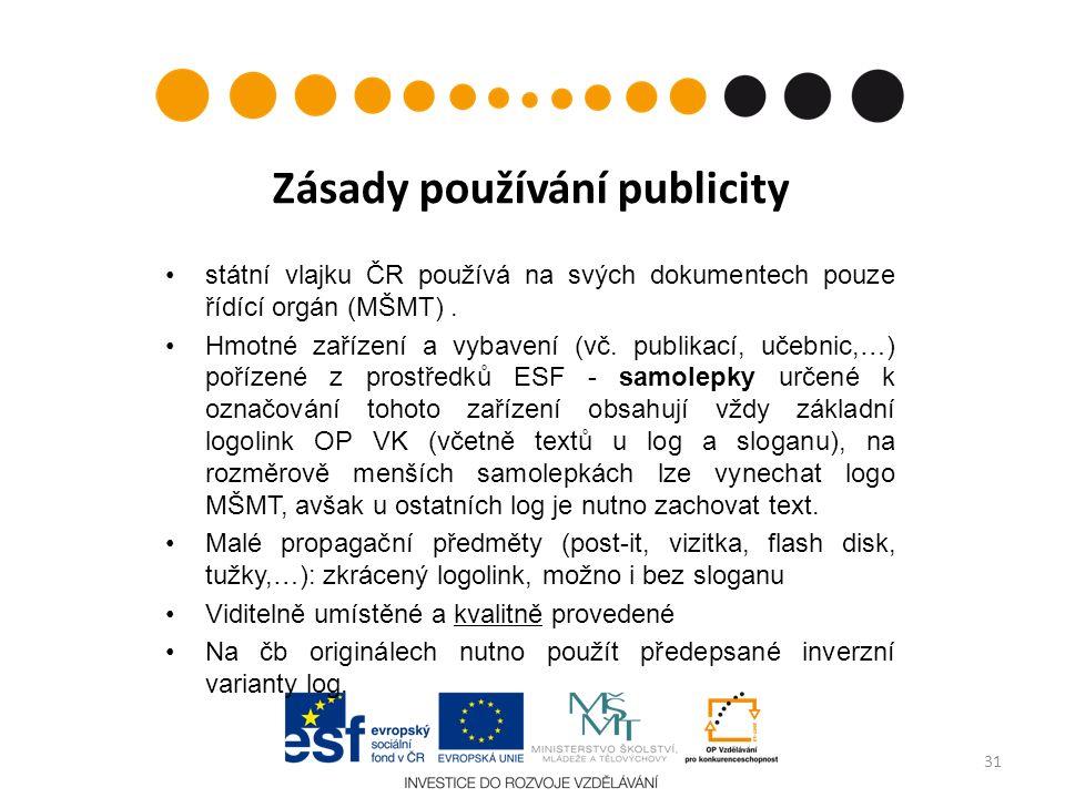 Zásady používání publicity státní vlajku ČR používá na svých dokumentech pouze řídící orgán (MŠMT). Hmotné zařízení a vybavení (vč. publikací, učebnic