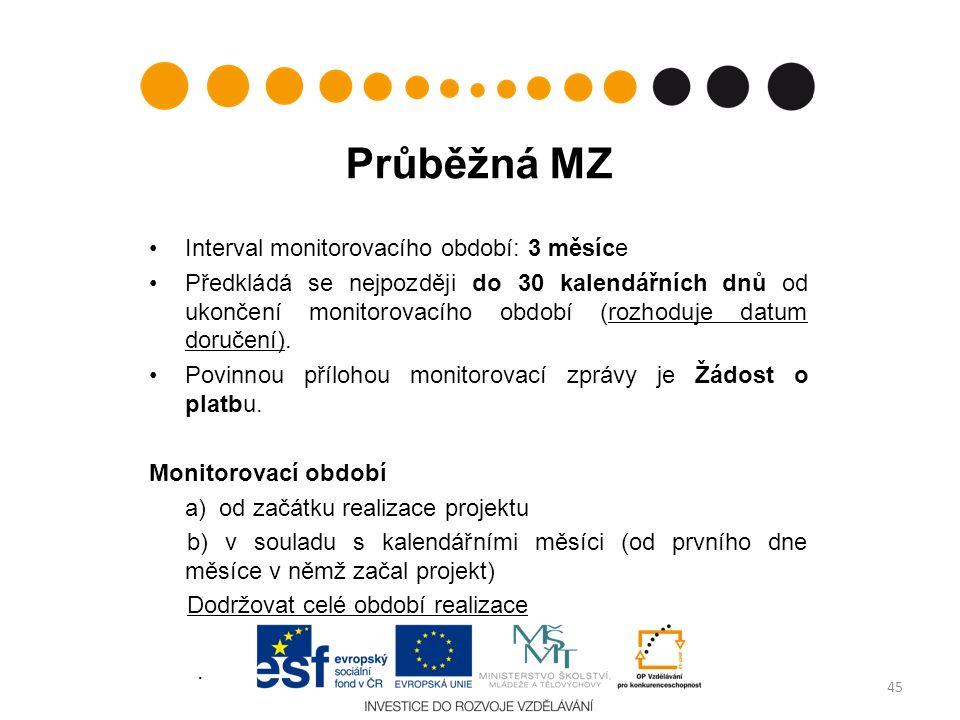 Průběžná MZ Interval monitorovacího období: 3 měsíce Předkládá se nejpozději do 30 kalendářních dnů od ukončení monitorovacího období (rozhoduje datum doručení).