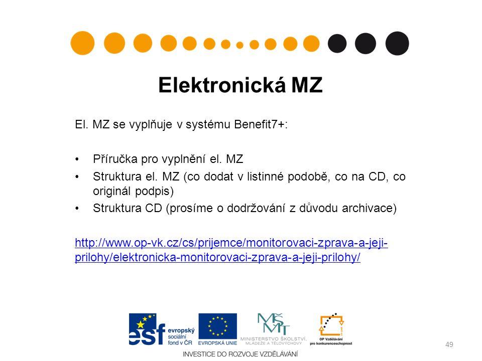 Elektronická MZ El. MZ se vyplňuje v systému Benefit7+: Příručka pro vyplnění el. MZ Struktura el. MZ (co dodat v listinné podobě, co na CD, co origin
