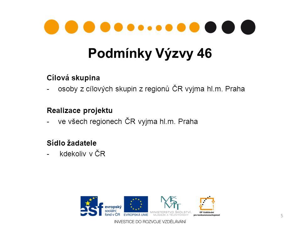 Podmínky Výzvy 46 Cílová skupina -osoby z cílových skupin z regionů ČR vyjma hl.m.