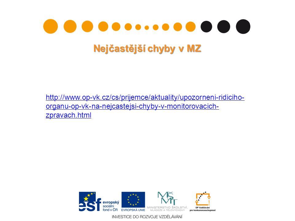 Nejčastější chyby v MZ http://www.op-vk.cz/cs/prijemce/aktuality/upozorneni-ridiciho- organu-op-vk-na-nejcastejsi-chyby-v-monitorovacich- zpravach.html