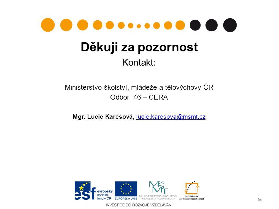 Děkuji za pozornost Kontakt: Ministerstvo školství, mládeže a tělovýchovy ČR Odbor 46 – CERA Mgr. Lucie Karešová, lucie.karesova@msmt.czlucie.karesova