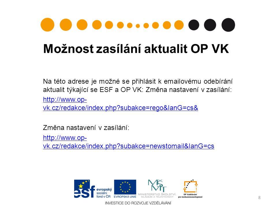Možnost zasílání aktualit OP VK Na této adrese je možné se přihlásit k emailovému odebírání aktualit týkající se ESF a OP VK: Změna nastavení v zasílá