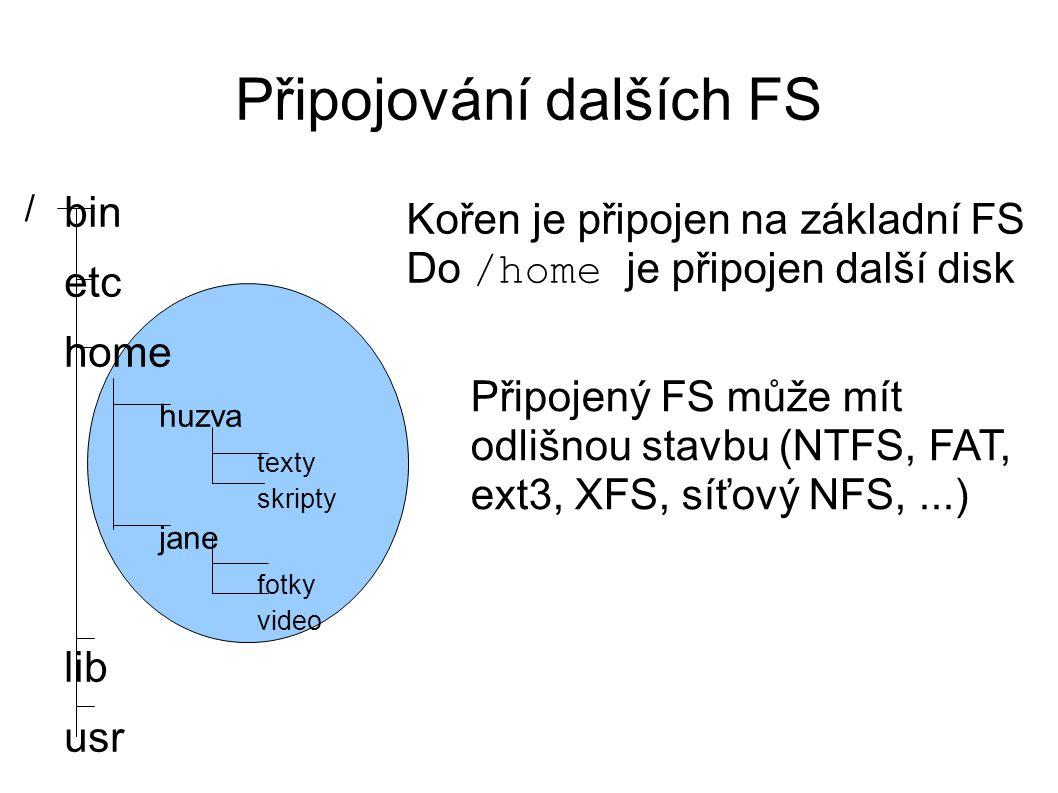 Připojování dalších FS bin etc home huzva texty skripty jane fotky video lib usr / Kořen je připojen na základní FS Do /home je připojen další disk Připojený FS může mít odlišnou stavbu (NTFS, FAT, ext3, XFS, síťový NFS,...)