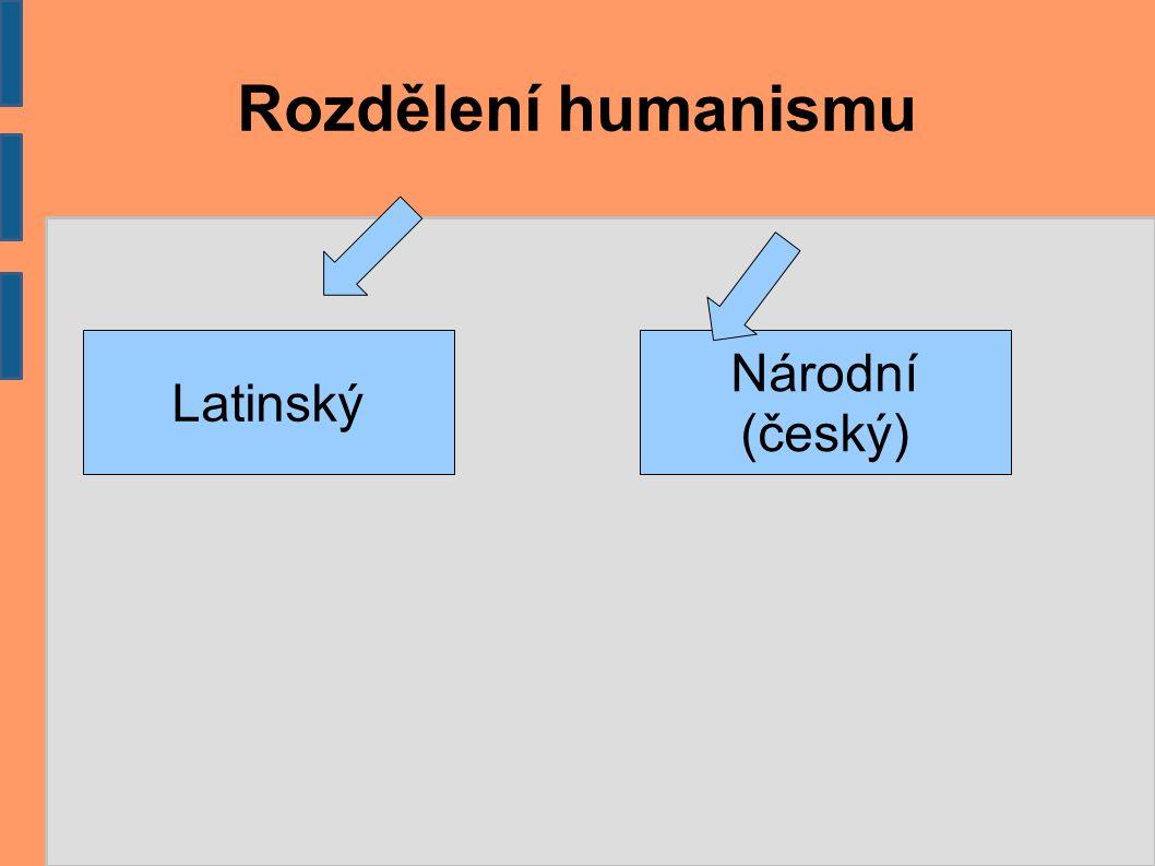 Latinský humanismus Bohuslav Hasištejnský z Lobkovic Studoval v Itálii v Bologni a získal doktorát.