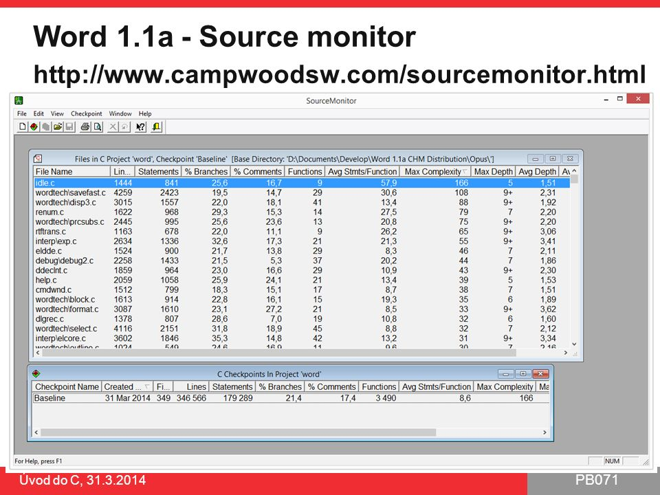 PB071 Word 1.1a - Source monitor http://www.campwoodsw.com/sourcemonitor.html Úvod do C, 31.3.2014