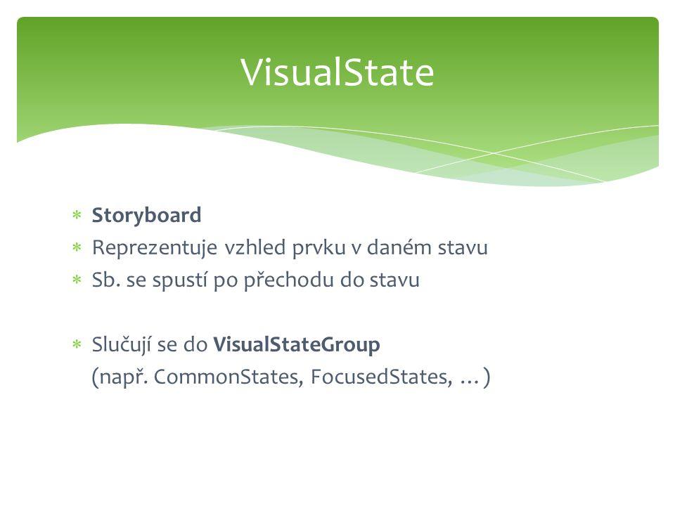  Storyboard  Reprezentuje vzhled prvku v daném stavu  Sb. se spustí po přechodu do stavu  Slučují se do VisualStateGroup (např. CommonStates, Focu