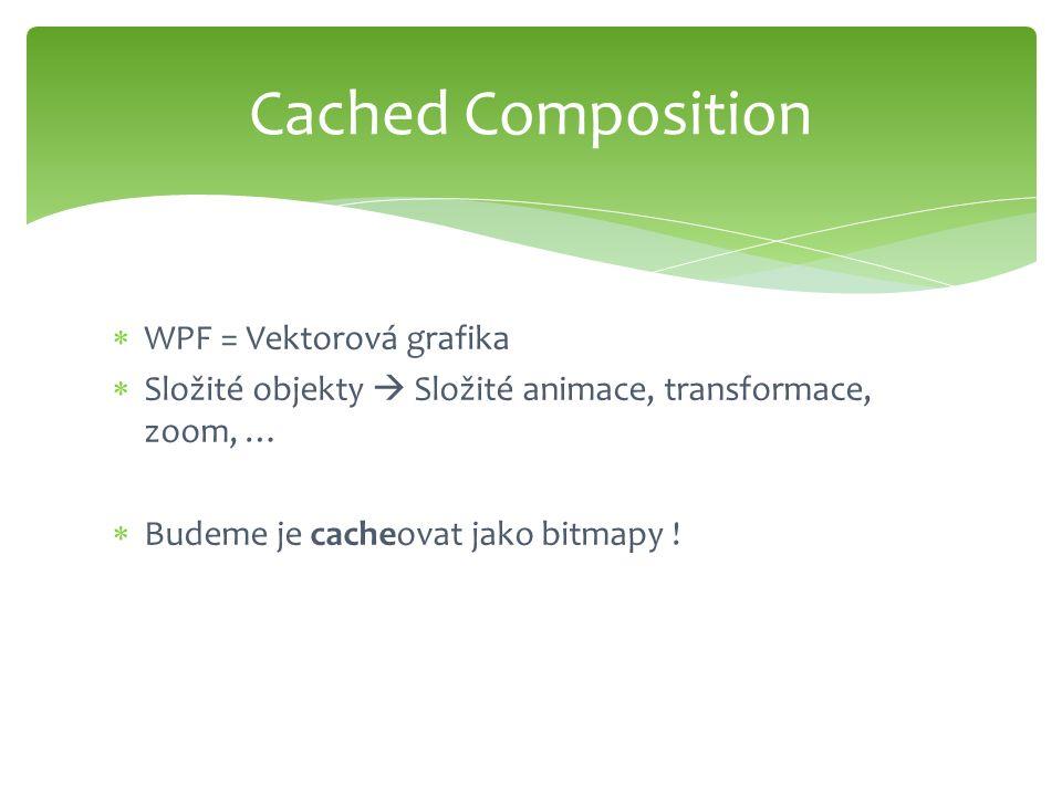  WPF = Vektorová grafika  Složité objekty  Složité animace, transformace, zoom, …  Budeme je cacheovat jako bitmapy ! Cached Composition