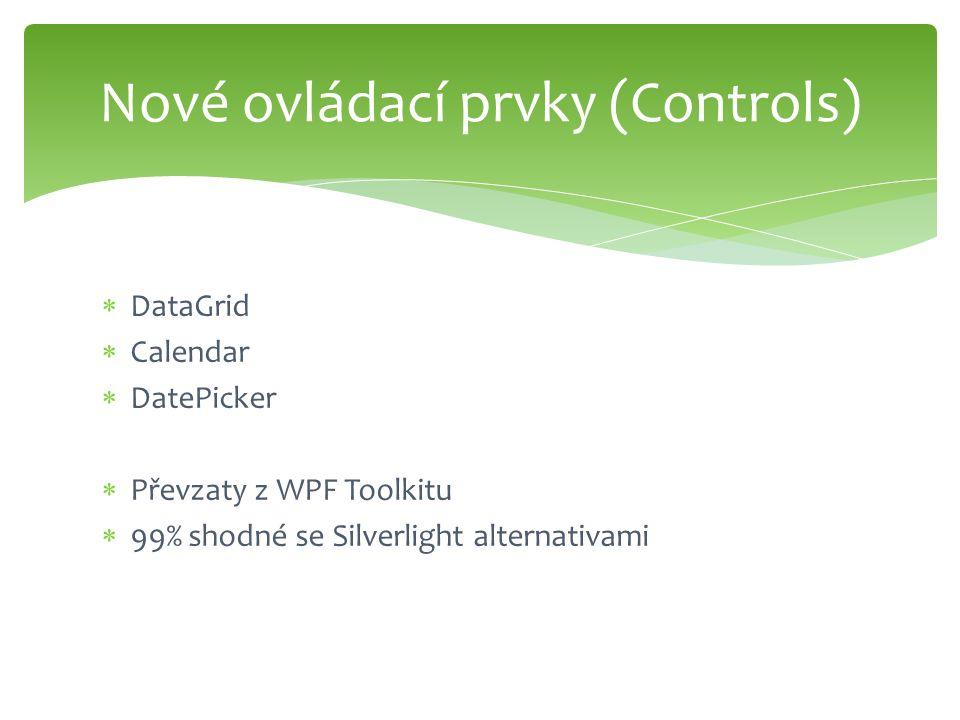  DataGrid  Calendar  DatePicker  Převzaty z WPF Toolkitu  99% shodné se Silverlight alternativami Nové ovládací prvky (Controls)